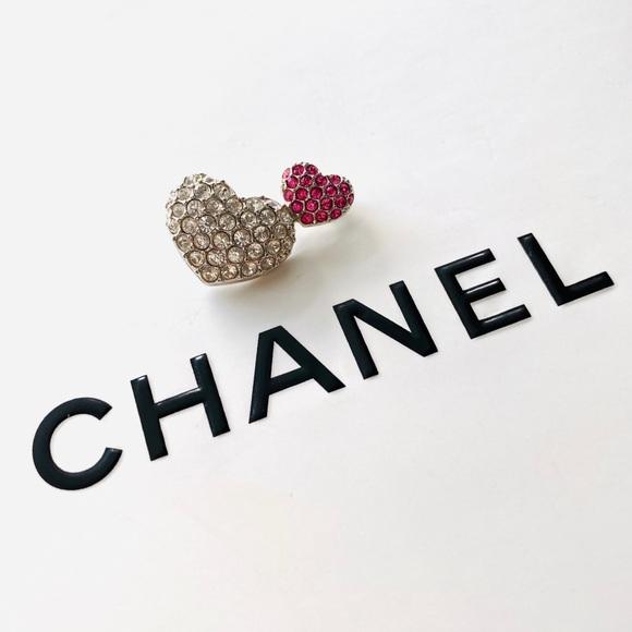Swarovski Jewelry - Swarovski Signed Crystal Double Heart Brooch Pin